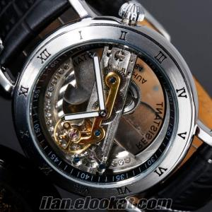 İskelet Kristal Otomatik Erkek Mekanik Saat SHENHUA Retro