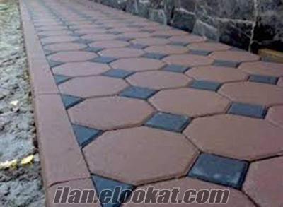kilit taşı parke taşı döşeme beton çiçeklik