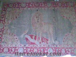 100 yıllık antika aslan ve kanarya desenli halı
