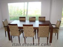 Özel Yapım Ceviz Kaplama Masa ve 8 sandalye