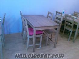 yazarkasa, ahşap 5 masa, 20 sandalye, firitöz, 2 li çaydanlık seti,