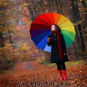 TOPTAN 16 telli 16 renkli Gökkuşağı Şemsiye