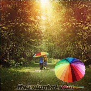 TOPTAN Gökkuşağı Şemsiye Otomatik 16 TEL 16 RENKLİ