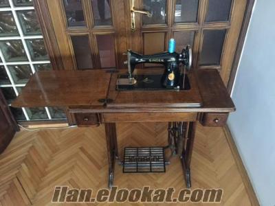 Antika Singer ayaklı dikiş makinası