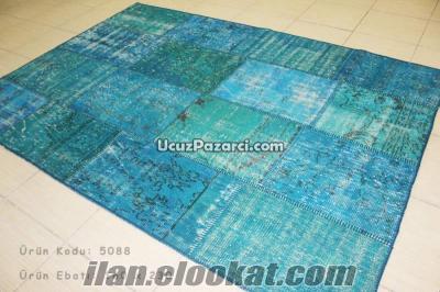 Mavi Patchwork Halı Özel Ebat Halı Üretimi, Eskitme Halı