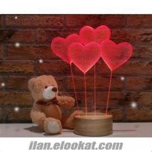 Satılık 3 boyutlu kalp LED masa lambası