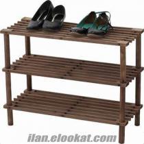 pratik kurulumlu 3 katlı ahşap ayakkabılık