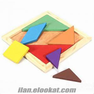 Ahşap Renkli Tangram Puzzle