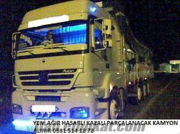 parçalanacak ağır hasarlı pert kazalı hurdaya kamyon alınır