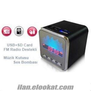 Şarjlı Mini Müzik Kutusu Radyo - Usb -Sd Mp3 Çalar