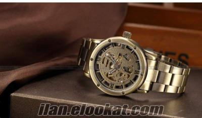 Retro bronz saat otomatik otomatik mekanik öz rüzgar erkekler paslanmaz çelik sh