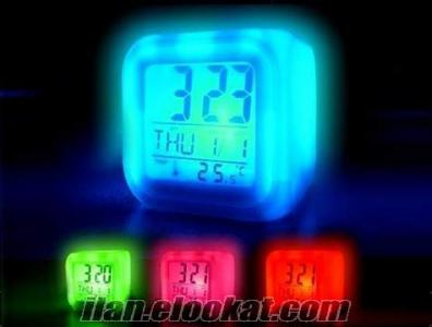 TOPTAN 7 Renk Değiştiren Alarmlı Işıklı Küp Saat Lamba