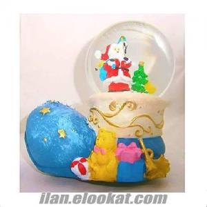 Noel Baba Cam Küre ve Kurmalı Müzik Kutusu