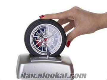 TOPTAN SESLİ ARABA LASTİĞİ ALARMLI SAAT SPİNNİNG TİRE ALARM CLOCK!!!!