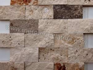 Doğal Patlatma Taş Mozaik Duvar Kaplaması Traverten ürünü