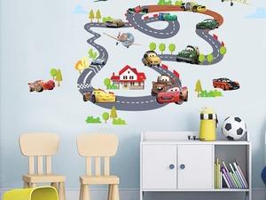 arabalar çocuk odası duvar dekor sticker yol